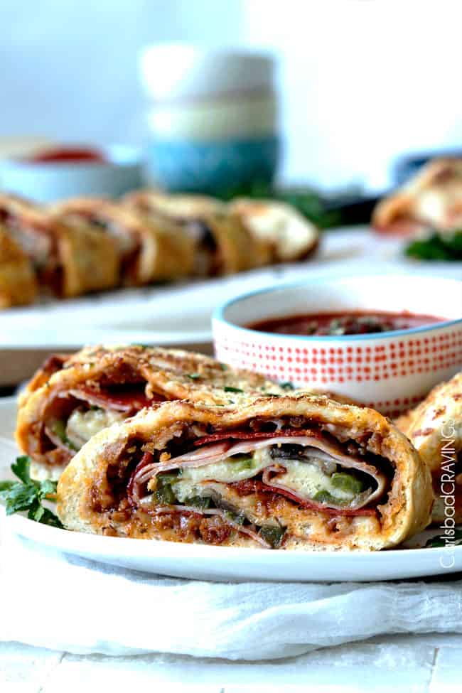 the Best Stromboli Recipe with slices of Stromboli on a plate