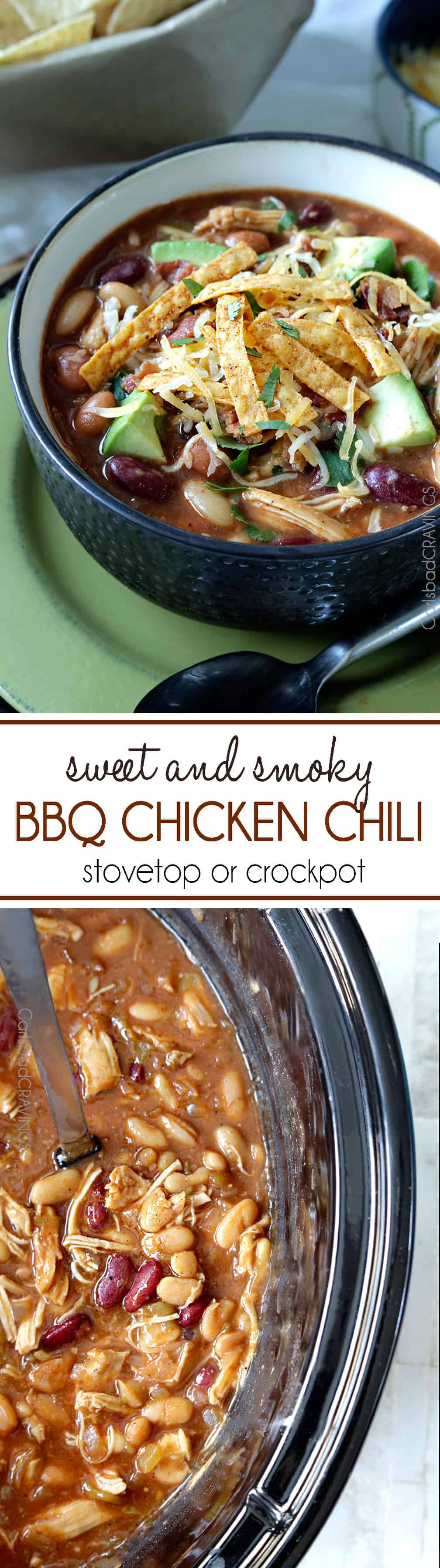 Sweet and Smoky BBQ Chicken Chili is guaranteed to become a family fav! Easy to make in the crockpot or stovetop.