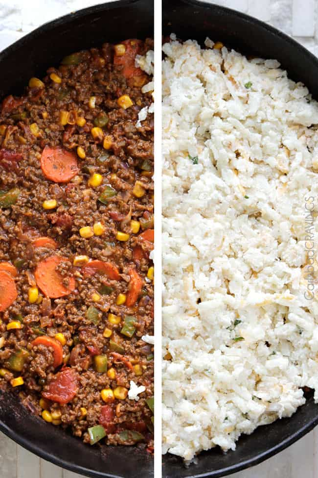 showing how to make shepherd's pie by adding potatoes on top of ground beef and vegetable layer