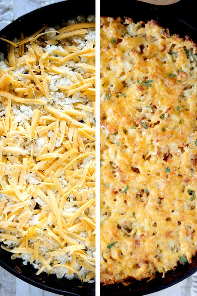 showing how to make shepherd's pie by adding cheese on top of potatoes and baking