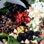 Blackberry Honey Walnut Salad with Easy Blackberry Balsamic Vinaigrette