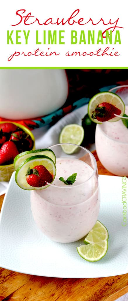 a strawberry banana protein smoothie on a white plate