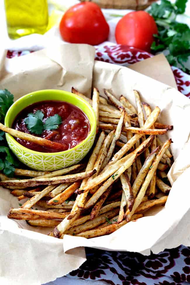 Baked Mexican French Fries with Salsa Ketchup Recipe | Carlsbad Cravings