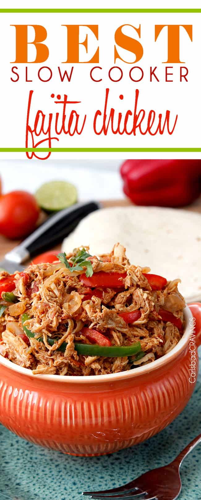 crock pot chicken fajitas with chicken, bell peppers and onions in an orange serving bowl
