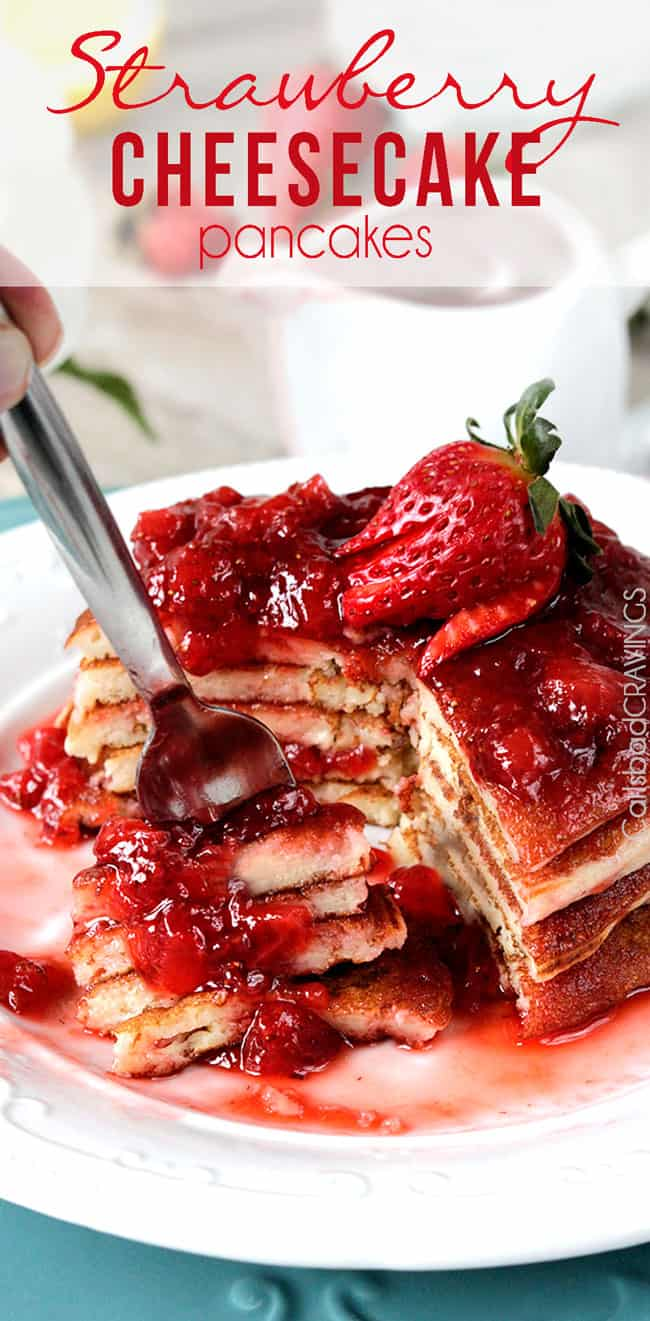 Strawberry Cheesecake Pancakes | Carlsbad Cravings