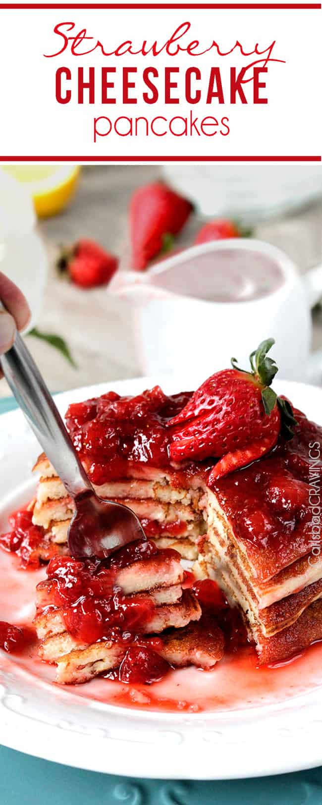 Strawberry Cheesecake Pancakes on a white plate.