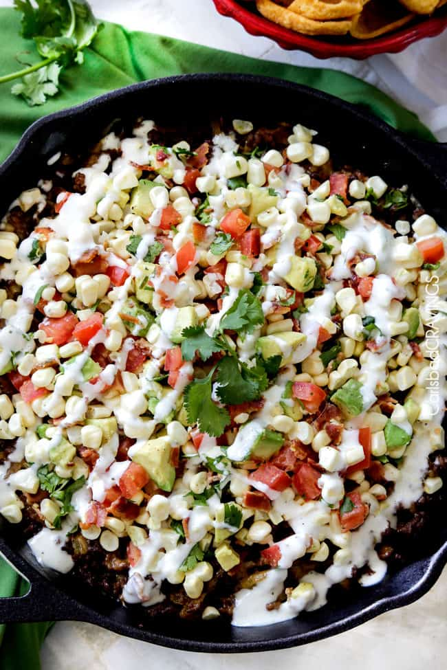 Ranch Taco Dip with Fresh Corn Avocado Salsa
