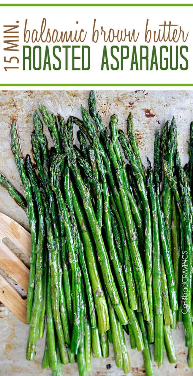 showing how to make balsamic asparagus by roasting asparagus on a pan