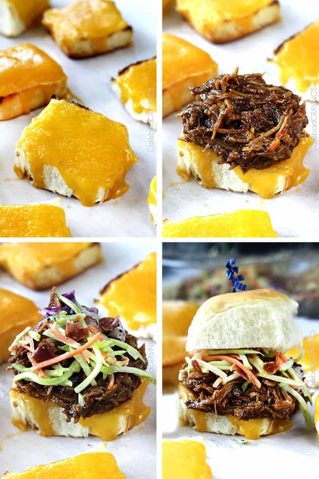 Showing how to make Cheesy BBQ Pork Sliders with Bacon Broccoli Slaw by melting cheese on the roll, then adding ingredients.