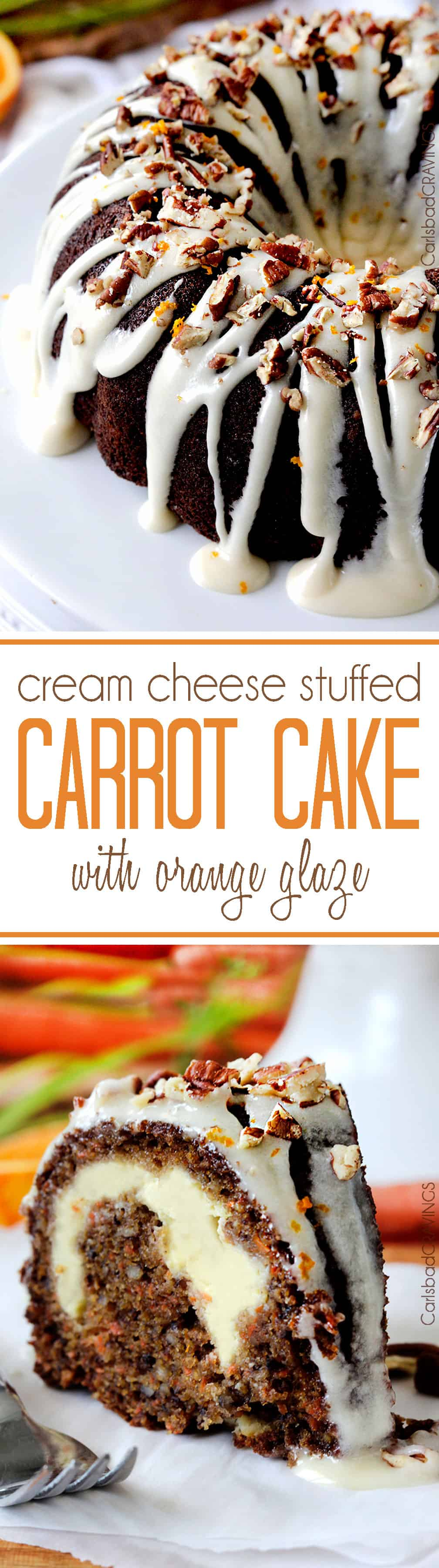 Super moist, spiced Carrot Cake stuffed with sweet Cream Cheese Filling and drizzled with sweet and tangy Orange Cream Cheese Glaze that will have you drinking it straight from the bowl.