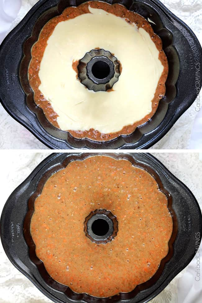 photo collage showing the assembly of a carrot bundt cake