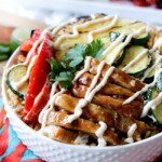 Teriyaki Chicken Bowls with Sriracha Pineapple Crema