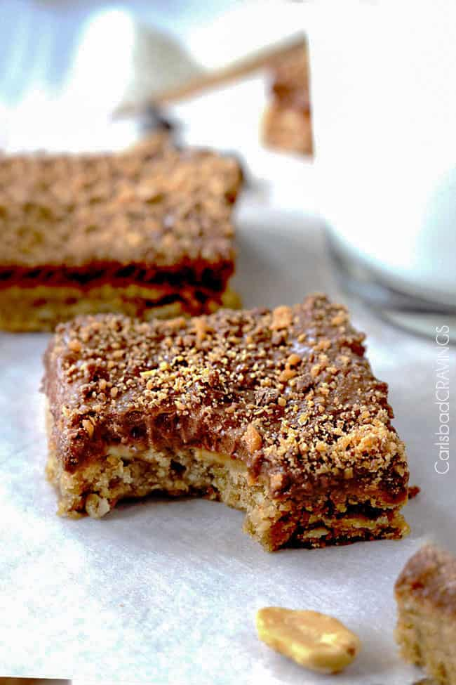 Peanut Butter Cookie Bars Recipe | Carlsbad Cravings