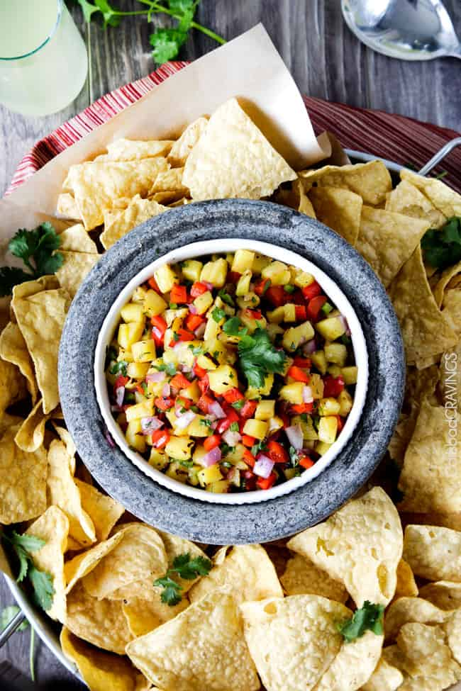 Home made Pineapple Salsa with a corns around the bowl.
