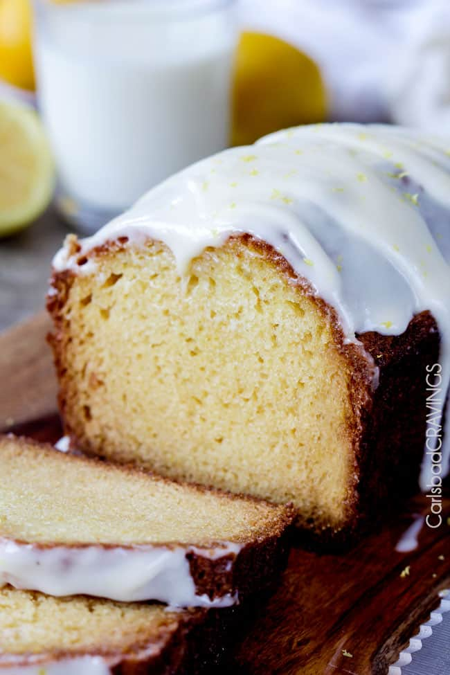 Lemon Bread Recipe with lemon glaze on a cutting board