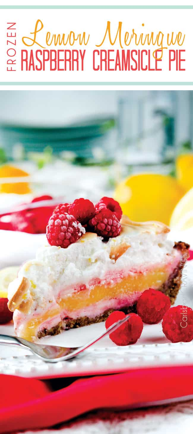 Frozen Lemon Meringue Raspberry Creamsicle Pie