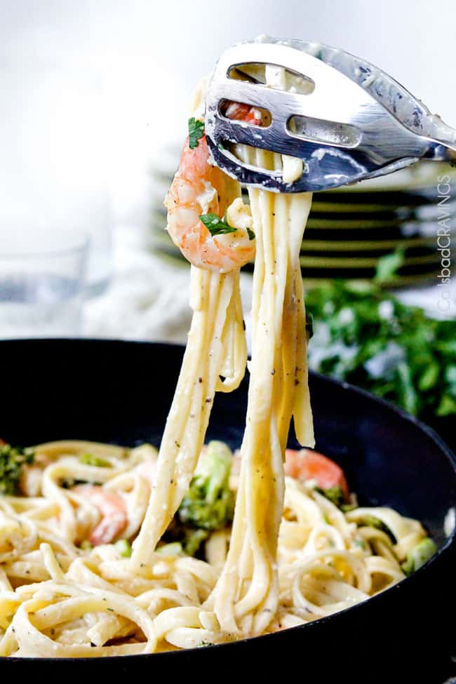 One Pot Lemon Garlic Cream Ravioli with Shrimp and Asparagus (Lightened Up)