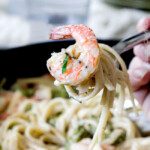 30 Minute Roasted Shrimp and Broccoli Fettuccine Alfredo (Lightened up!)