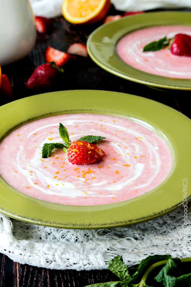 Easy Sweet and silky 5 Minute Blender Strawberry Coconut Soup is the perfect side or dessert for everyday or both delicious and beautiful for special occasions. #strawberry #soup #coconut #summer