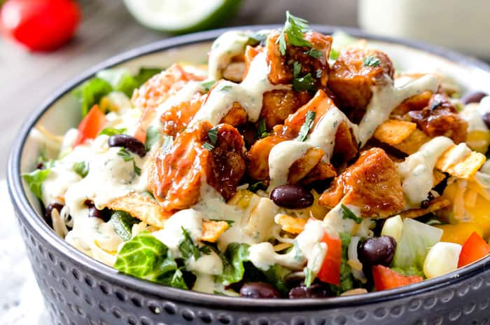 Grilled Barbecue Chicken Salad with Avocado Ranch Dressing is better ...