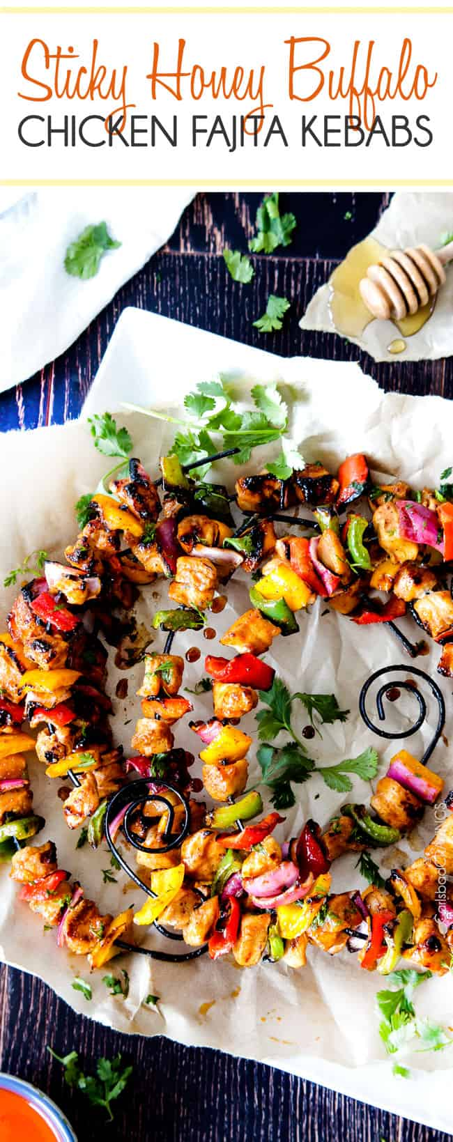 Honey Buffalo Chicken Fajita Kebabs on skewers.