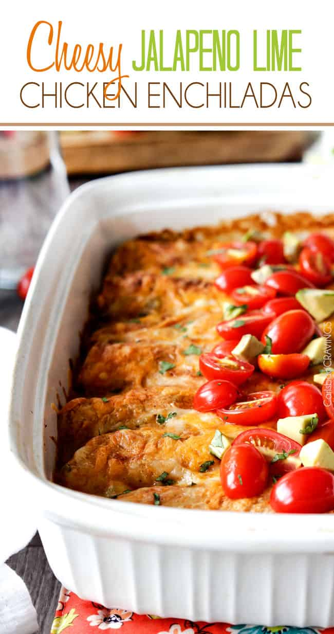 Jalapeno Lime Chicken Enchiladas stuffed with tender chicken, cheese ...