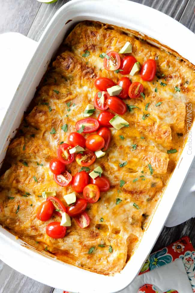 Jalapeno Lime Chicken Enchiladas stuffed with tender chicken, cheese and the option of fresh corn and zucchini, doused in the most irresistible creamy jalapeno lime sauce that you will go crazy for! #enchiladas #chicken #jalapeno #lime #chickenenchiladas