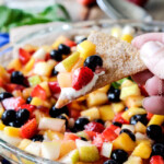 Rainbow Fruit Salsa Cheesecake Dip