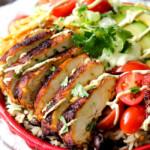 Fiesta Ranch Chicken Burrito Bowls with Chipotle Avocado Ranch Crema