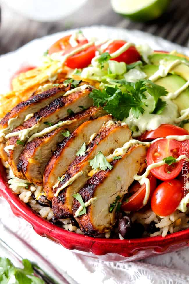 Chicken Burrito Bowl in Red Serving Bowl;