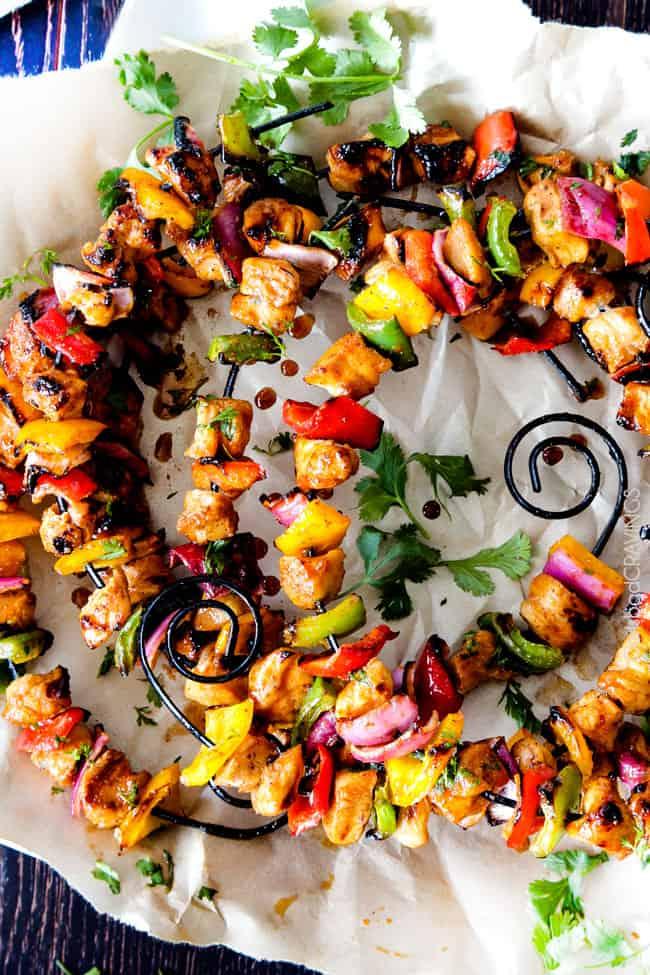 Sticky Honey Buffalo Chicken Fajita Kebabs