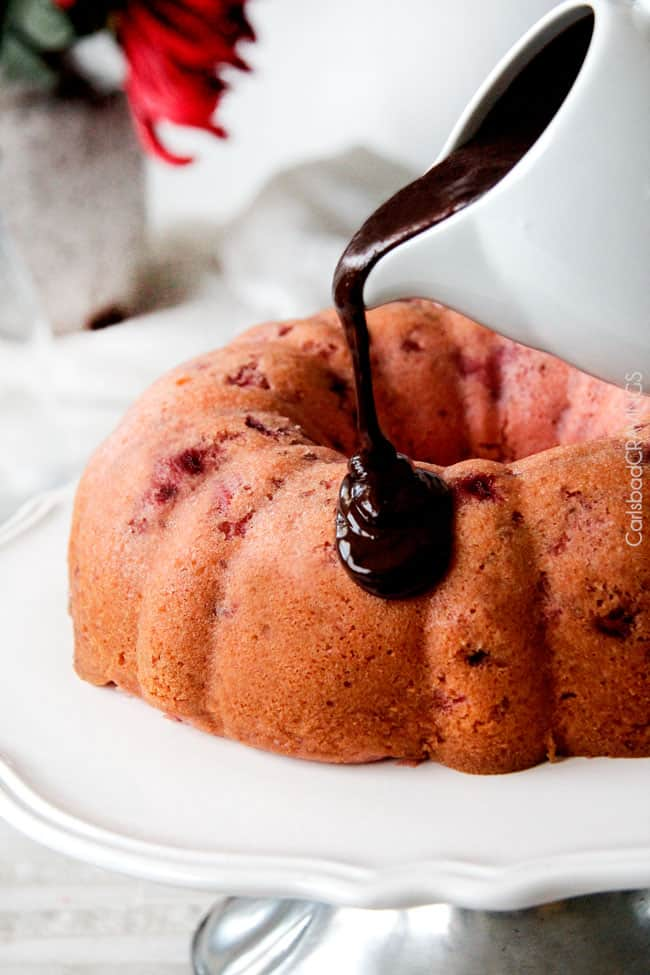 Strawberry Pound Cake recipe drizzled with chocolate ganache.