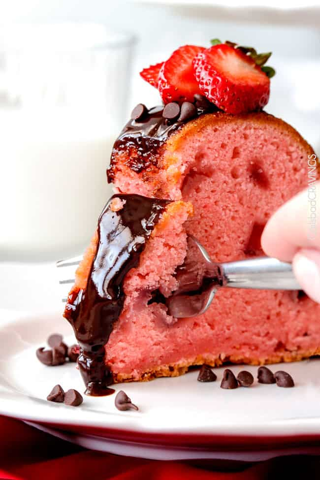 A slice of this delicious Strawberry Pound Cake recipe.