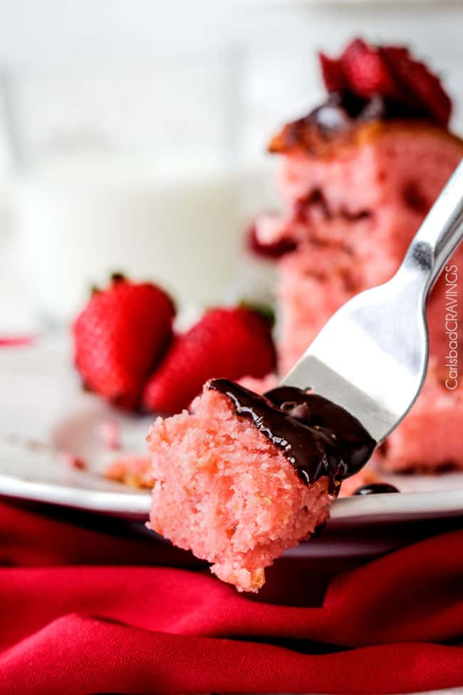 A forkful of this delicious Strawberry Pound Cake.