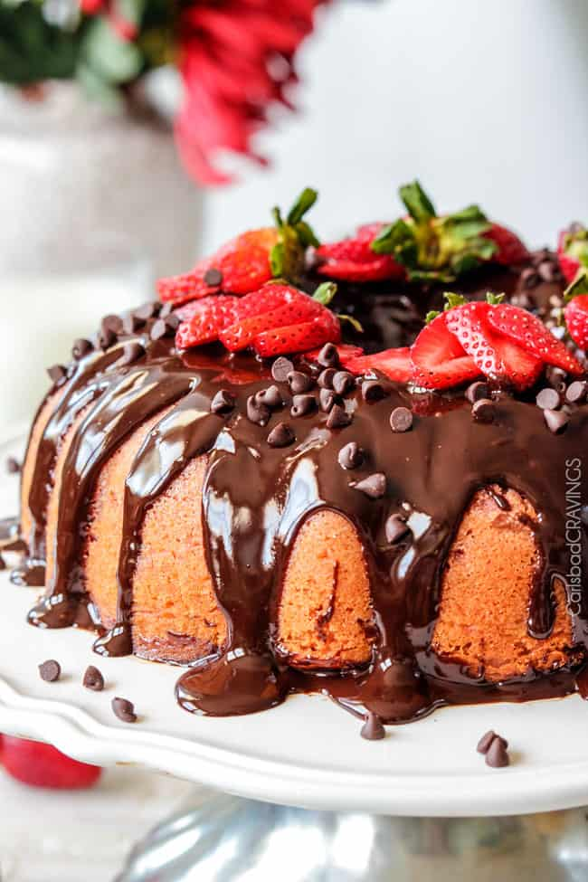 Strawberry Pound Cake With Chocolate Ganache Carlsbad