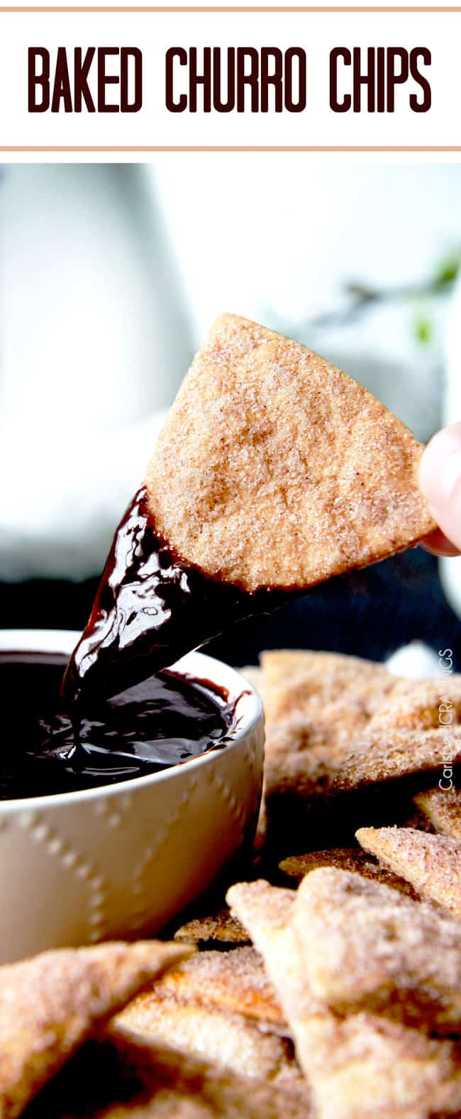 Cinnamon Crisps dipped in a chocolate sauce.