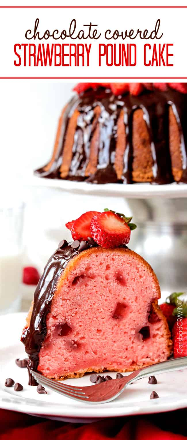 Strawberry Pound Cake with chocolate chips on a white serving plate.