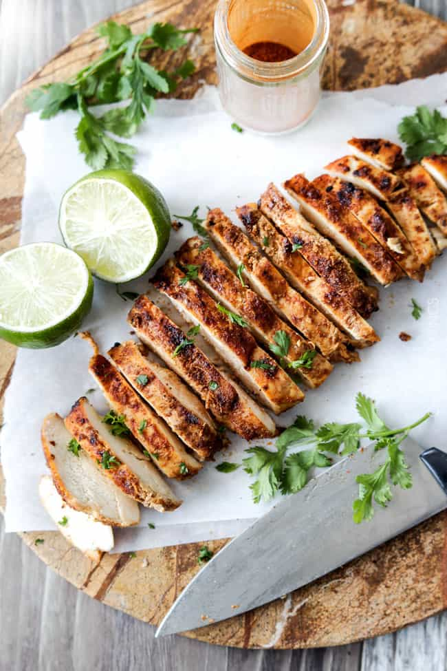 Fresh cut Chipotle Chicken with lime and cilantro.