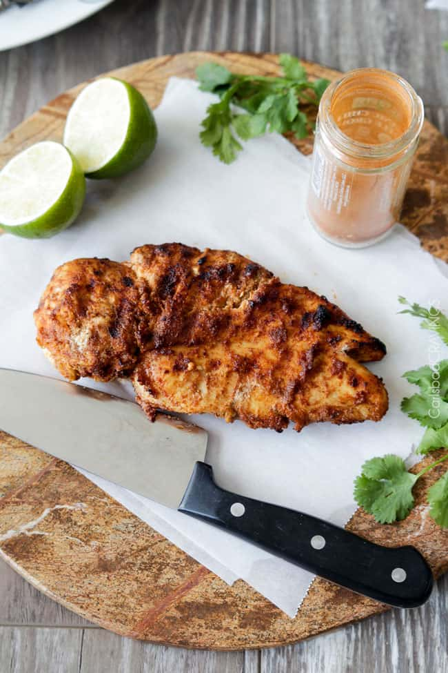 Fresh cooked chicken ready to cut and add to Chipotle Chicken with lime and cilantro.