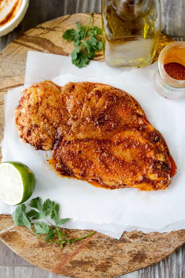 Preparing chicken for Chipotle Chicken Salad.