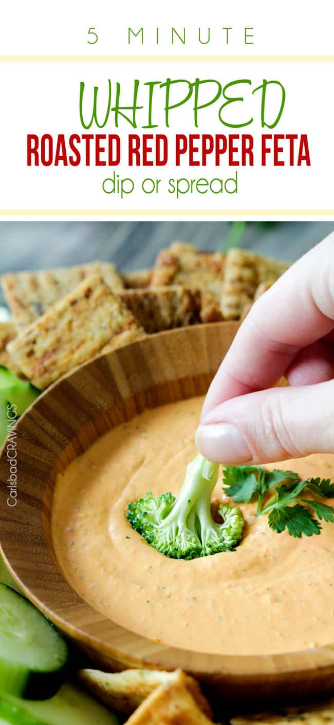 MEGA creamy 5 Minute Whipped Roasted Red Pepper Feta Dip or Spread