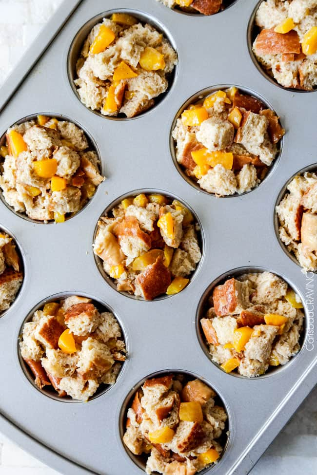 showing how to make French Toast Muffins by adding bread cubes to muffin tin