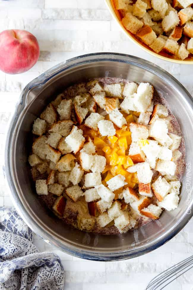 showing how to make French Toast Muffins by adding bread cubes to batter