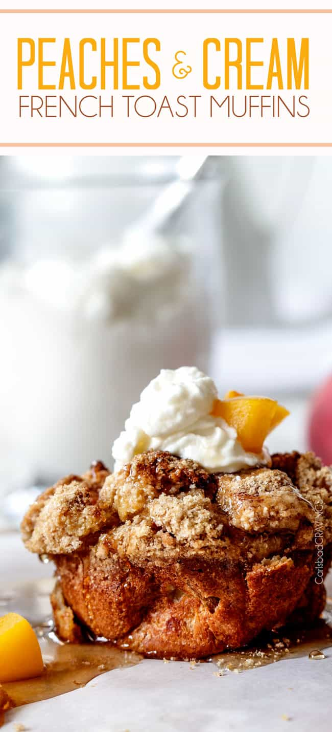 Baked Peaches and Cream French Toast Muffins are an irresistible make-ahead breakfast bursting with sweet peaches, crowned with Cinnamon Streusel, doused with syrup and topped with luscious cream! All the muffin ingredients are combined in one bowl then baked in muffin tins for an easy make-ahead breakfast. #frenchtoast #muffins #frenchtoastmuffins #peaches #cream