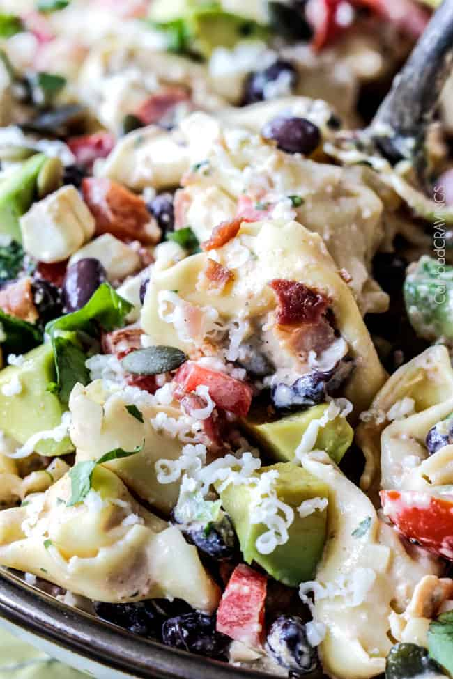Make ahead, favorite potluck Southwest Pepper Jack Tortellini Salad = cheesy pillows of tortellini, sweet corn, black beans, avocado, bell peppers, etc. bathed in Creamy Salsa Dressing and garnished with bacon, Pepper Jack, sunflower seeds. Oh my YUM! #tortellini #pastasalad #southwest #salad