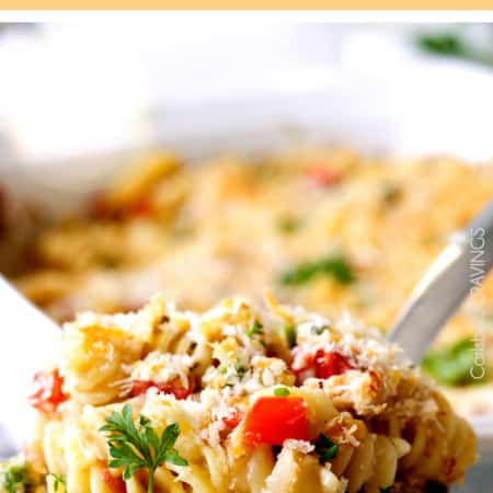 15 MINUTE PREP Cajun Bacon Tuna Pasta Bake (aka tuna casserole) is cheesy, flavorful and perfect for those busy nights WITHOUT all the guilt!