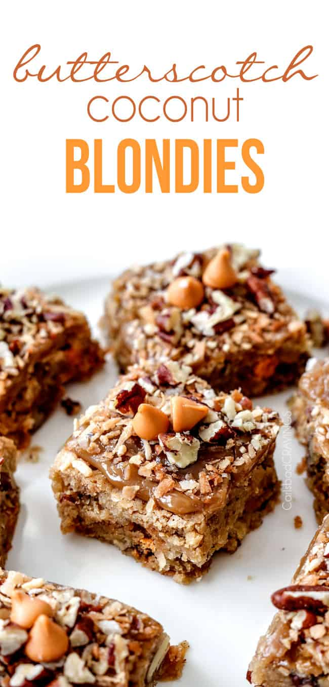 NO MIXER, easy soft, chewy, Butterscotch Coconut Blondies infused with butterscotch chips, toasted coconut and pecans topped with the most incredible Butterscotch Glaze! best blondies ever!