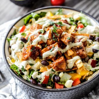 Chipotle BBQ Chicken Salad with Tomatillo Avocado Ranch Dressing