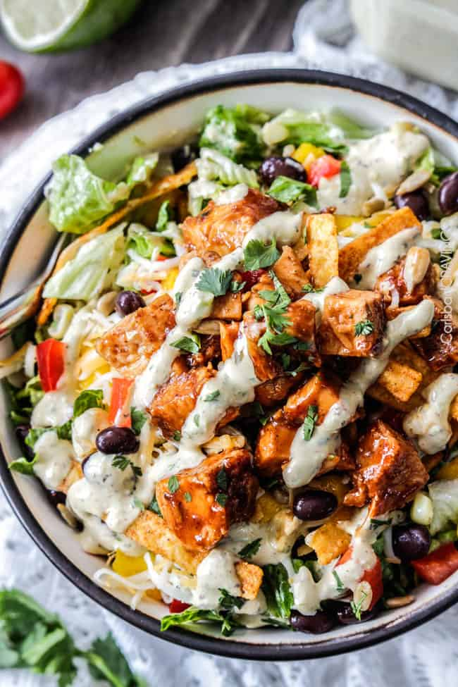 Chipotle Barbecue Chicken Salad with 5 Minute Blender Tomatillo Avocado Ranch Dressing is WAY Better than your favorite restaurant salad at a fraction of the cost packed with crunchy veggies, crispy tortilla strips, tender barbecue chicken and the most intoxicating dressing! #salad #barbecue #BBQ #ranch #avocado