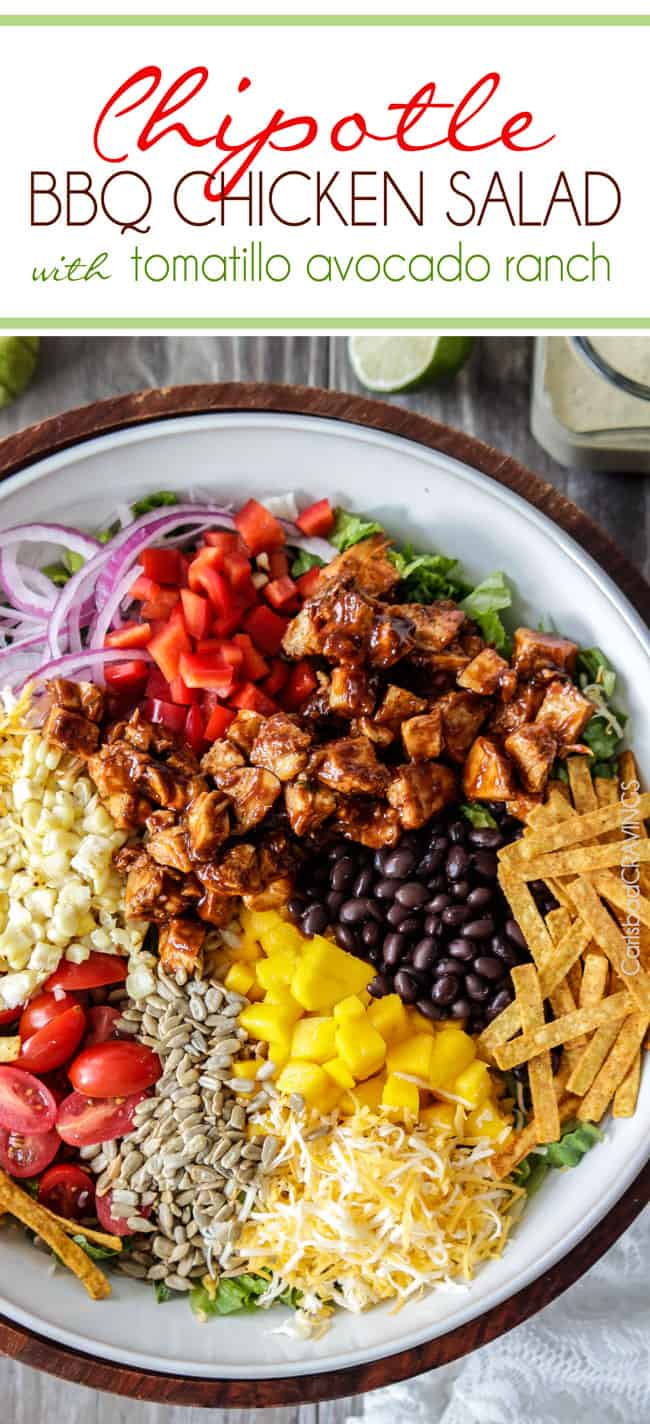 Chipotle BBQ Chicken Salad with Tomatillo Avocado Ranch | Carlsbad Cravings